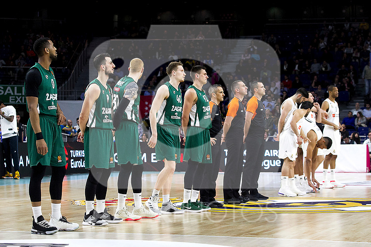 Zalgiris' players and Real Madrid's players during Euroligue match between Real Madrid and Zalgiris Kaunas at Wizink Center in Madrid, Spain. April 4, 2019.  (ALTERPHOTOS/Alconada)