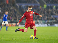 26th December 2019; King Power Stadium, Leicester, Midlands, England; English Premier League Football, Leicester City versus Liverpool; Jordan Henderson of Liverpool crossing the ball - Strictly Editorial Use Only. No use with unauthorized audio, video, data, fixture lists, club/league logos or 'live' services. Online in-match use limited to 120 images, no video emulation. No use in betting, games or single club/league/player publications