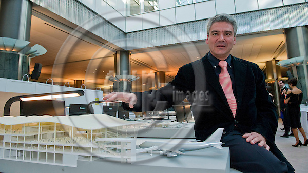 Brussels-Belgium - May 03, 2011 -- Luis VIDAL (Vidal y Asociados arquitectos), Spanish architect specialised in airport infrastructure, airport planning and implementation, exposing modells of his projects in the European Parliament -- Photo: Horst Wagner / eup-images