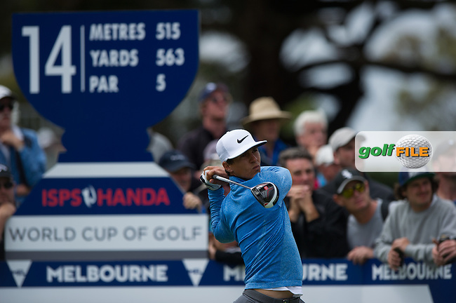 Thorbjorn Olesen (DEN) on the 14th tee during the ISPS Handa World Cup of Golf, from Kingston heath Golf Club, Melbourne Australia. 24/11/2016<br /> Picture: Golffile | Anthony Powter<br /> <br /> <br /> All photo usage must carry mandatory copyright credit (&copy; Golffile | Anthony Powter)