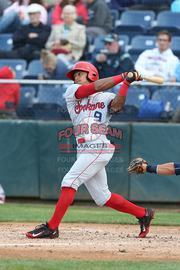 LeDarious Clark (9) of the Spokane Indians bats during a game against the Everett AquaSox at Everett Memorial Stadium on July 25, 2015 in Everett, Washington. Spokane defeated Everett, 10-1. (Larry Goren/Four Seam Images)