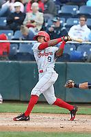 LeDarious Clark (9) of the Spokane Indians bats during a game against the Everett AquaSox at Everett Memorial Stadium on July 25, 2015 in Everett, Washington. Spokane defeated Everett, 10-1. (Larry Goren/Four Seam Images)