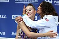 August 31, 2017 - Pesaro, Italy - EVITA GRISKENAS with coach Angelina Yovcheva of USA at 2017 World Championships Pesaro, Italy.
