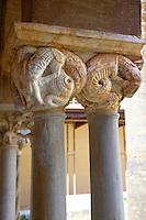 Medieval cloister column capitals  of the Cathedral, Duomo of Cefalu [Cefaú] Sicily