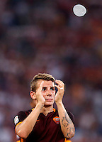 Calcio, Serie A: Roma vs Juventus. Roma, stadio Olimpico, 30 agosto 2015.<br /> Roma&rsquo;s Lucas Digne greets fans at the end of the Italian Serie A football match between Roma and Juventus at Rome's Olympic stadium, 30 August 2015. Roma won 2-1.<br /> UPDATE IMAGES PRESS/Riccardo De Luca