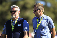 Darren Clarke (Captain Team Europe) and Ian Poulter (Vice-Captain Team Europe) during Sunday Singles matches at the Ryder Cup, Hazeltine National Golf Club, Chaska, Minnesota, USA. 02/10/2016<br /> Picture: Golffile | Fran Caffrey<br /> <br /> <br /> All photo usage must carry mandatory copyright credit (&copy; Golffile | Fran Caffrey)