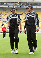 NZ's Kyle Mills and Jacob Oram walk off as rain stops play during the 2nd ODI cricket match between the New Zealand Black Caps and India at Westpac Stadium, Wellington, New Zealand on Friday, 6 March 2009. Photo: Dave Lintott / lintottphoto.co.nz