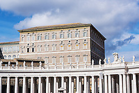 Papal Apartments and Bernini's colonnade surrounding St Peter's Square in Vatican City, Rome, Italy