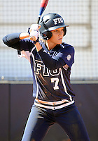 Florida International University infielder Kayla Burri (7) plays against the University of Massachusetts which won the game 3-1 on February 11, 2012 at Miami, Florida. .