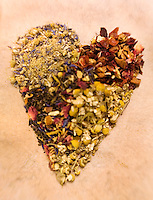 Heart Shape Loose Leaf Teas, chamomille,chinese flower green tea,orange passion fruit tea,yellow and blue tea,..