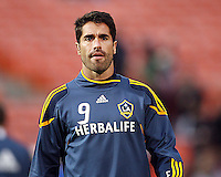 Juan Pablo Angel (9) of the Los Angeles Galaxy during an MLS match against D.C. United at RFK Stadium, on April 9 2011, in Washington D.C. The game ended in a 1-1 tie.