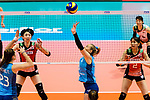 Agostina Denisse Soria of Argentina (C) serves the ball during the FIVB Volleyball Nations League Hong Kong match between Japan and Argentina on May 31, 2018 in Hong Kong, Hong Kong. Photo by Marcio Rodrigo Machado / Power Sport Images