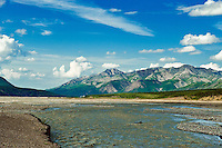 Mountain landscape and braided river, Denali National Park, Alaska