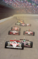 87th Indianapolis 500, Indianapolis Motor Speedway, Speedway, Indiana, USA  25 May,2003.Gil deFerran leads Tora Takagi down the main straight..World Copyright©F.Peirce Williams 2003 .ref: Digital Image Only..F. Peirce Williams .photography.P.O.Box 455 Eaton, OH 45320.p: 317.358.7326  e: fpwp@mac.com..