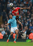 Marcus Rashford of Manchester United gets above Danilo of Manchester City during the premier league match at the Etihad Stadium, Manchester. Picture date 7th April 2018. Picture credit should read: Simon Bellis/Sportimage