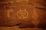 Intricate petroglyphs adorn the canyon walls at the Wolfman Panel rock art site, located in the rugged Butler Wash/Comb Ridge area near Bluff, Utah