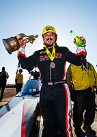 Feb 25, 2018; Chandler, AZ, USA; NHRA top fuel driver Steve Torrence celebrates after winning the Arizona Nationals at Wild Horse Pass Motorsports Park. Mandatory Credit: Mark J. Rebilas-USA TODAY Sports