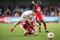 James Collins of Crawley Town (19) and Alan Sheehan of Luton Town (44)   during the Sky Bet League 2 match between Crawley Town and Luton Town at the Broadfield/Checkatrade.com Stadium, Crawley, England on 17 September 2016. Photo by Edward Thomas / PRiME Media Images.