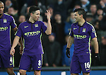 Samir Nasri of Manchester City celebrates with goalscorer Sergio Aguero of Manchester City - Barclays Premier League - Stoke City vs Manchester City - Britannia Stadium - Stoke on Trent - England - 11th February 2015 - Picture Simon Bellis/Sportimage