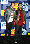LOS ANGELES, CA. - September 07: Chester Bennington and Joseph Han of Linkin Park  pose in the press room at the 2008 MTV Video Music Awards at Paramount Pictures Studios on September 7, 2008 in Los Angeles, California.