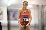 COLLEGE STATION, TX - MARCH 11: Karisa Nelson of Samford is photographed with her first place trophy following the women's mile run during the Division I Men's and Women's Indoor Track & Field Championship held at the Gilliam Indoor Track Stadium on the Texas A&M University campus on March 11, 2017 in College Station, Texas. (Photo by Michael Starghill/NCAA Photos/NCAA Photos via Getty Images)