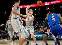 WASHINGTON, DC - DECEMBER 28: Mac McClung #2 of Georgetown sends off an overhead pass. during a game between American University and Georgetown University at Capital One Arena on December 28, 2019 in Washington, DC.