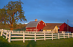 The Palouse, Whitman County, WA: Red barn and farm scene in evening light with clearing storm clouds
