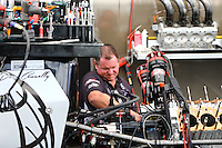 Feb 28, 2016; Chandler, AZ, USA; A crew member for NHRA top fuel driver Dave Connolly during the Carquest Nationals at Wild Horse Pass Motorsports Park. Mandatory Credit: Mark J. Rebilas-