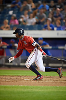Syracuse Chiefs center fielder Victor Robles (16) gets robbed of a base hit during a game against the Buffalo Bisons on September 2, 2018 at NBT Bank Stadium in Syracuse, New York.  Syracuse defeated Buffalo 4-3.  (Mike Janes/Four Seam Images)