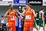 S&ouml;dert&auml;lje 2014-01-03 Basket Basketligan S&ouml;dert&auml;lje Kings - Bor&aring;s Basket :  <br /> Bor&aring;s James &quot;JJ&quot; Miller  och Bor&aring;s Roope Ahonen jublar efter matchen<br /> (Foto: Kenta J&ouml;nsson) Nyckelord:  jubel gl&auml;dje lycka glad happy