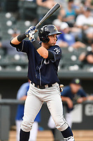 First baseman Vince Conde (17) of the Charleston RiverDogs bats in a game against the Columbia Fireflies on Monday, August 7, 2017, at Spirit Communications Park in Columbia, South Carolina. Columbia won, 6-4. (Tom Priddy/Four Seam Images)