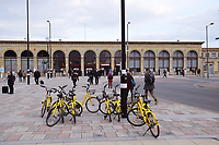 Ofo rental bikes, Cambridge Station, March 2018 UK. Ofo is the world's first dockless bike sharing platform, working through an app
