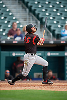 Indianapolis Indians Logan Hill (35) hits a home run during an International League game against the Buffalo Bisons on June 20, 2019 at Sahlen Field in Buffalo, New York.  Buffalo defeated Indianapolis 11-8  (Mike Janes/Four Seam Images)