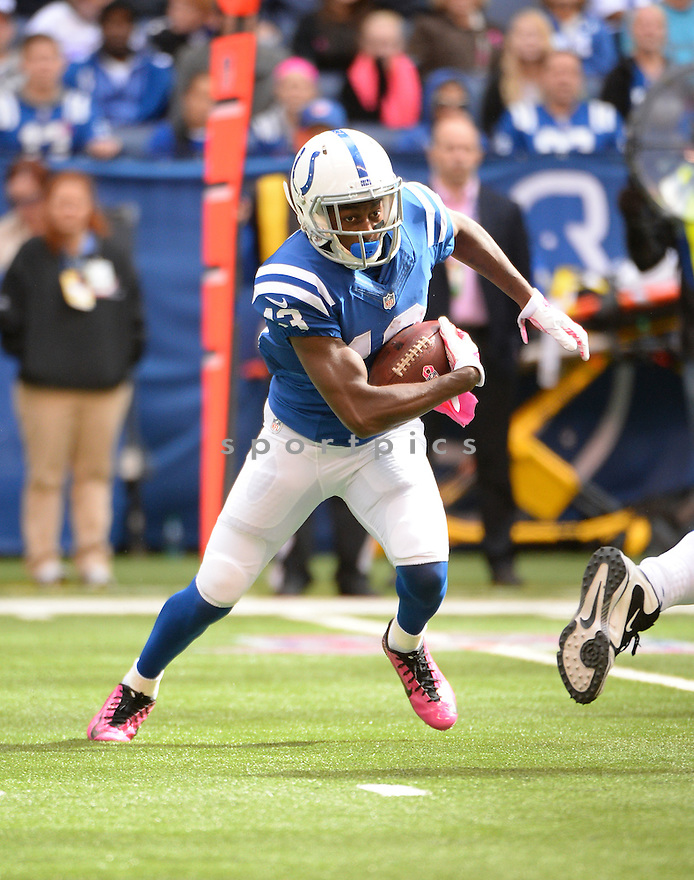 Indianapolis Colts T.Y. Hilton (13) during a game against the Baltimore Ravens on October 5, 2014 at Lucas Oil Stadium in Indianapolis, IN. The Colts beat the Ravens 20-13.