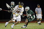 Placentia, CA 05/14/10 - Josh Peterman (Foothill # 10) and Tajee Mobley (MC # 25) in action during the Mira Costa vs Foothill boys lacrosse game for the 2010 Los Angeles / Orange County CIF Championship.