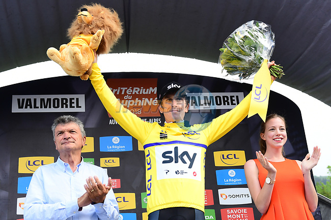 Geraint Thomas (WAL) Team Sky takes over the race leaders Yellow Jersey at the end of Stage 5 of the 2018 Criterium du Dauphine 2018 running 130km from Grenoble to Valmorel, France. 8th June 2018.<br /> Picture: ASO/Alex Broadway | Cyclefile<br /> <br /> <br /> All photos usage must carry mandatory copyright credit (© Cyclefile | ASO/Alex Broadway)