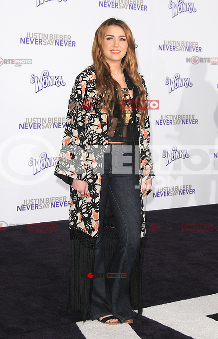 Miley Cyrus at the Los Angeles premiere of &quot;Justin Bieber: Never Say Never&quot;  at Nokia Theater at L.A. Live in Los Angeles, CA, USA.February 8, 2011 &copy; mpi11 / MediaPunch Inc. *NortePhoto.com*<br />