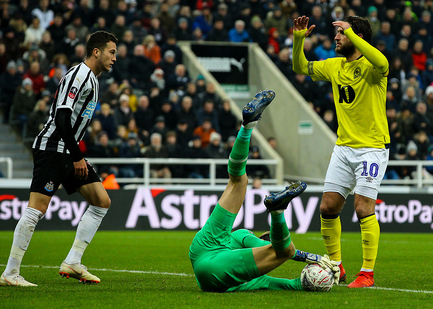 Blackburn Rovers' Danny Graham rues a missed opportunity as Newcastle United's Freddie Woodman pounces on a cross<br /> <br /> Photographer Alex Dodd/CameraSport<br /> <br /> Emirates FA Cup Third Round - Newcastle United v Blackburn Rovers - Saturday 5th January 2019 - St James' Park - Newcastle<br />  <br /> World Copyright © 2019 CameraSport. All rights reserved. 43 Linden Ave. Countesthorpe. Leicester. England. LE8 5PG - Tel: +44 (0) 116 277 4147 - admin@camerasport.com - www.camerasport.com