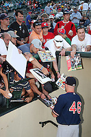 Boston Red Sox designated hitter Kevin Youkilis #46 signs autographs before a rehab assignment game with the Pawtucket Red Sox against the Rochester Red Wings at Frontier Field on August 30, 2011 in Rochester, New York.  (Mike Janes/Four Seam Images)