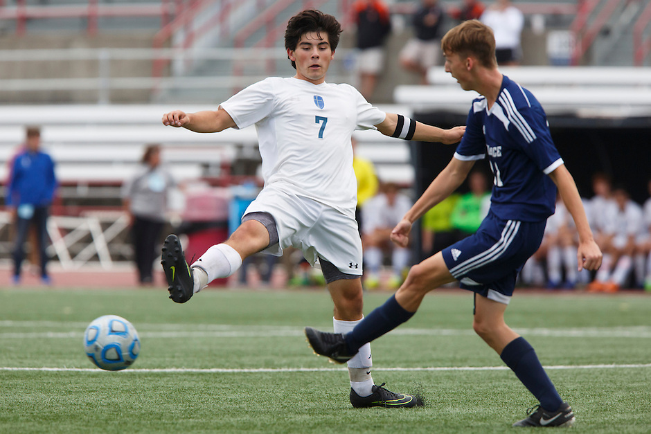 Providence's Cole Corby (22) plays the ball past Mishawaka Marian's Christian Juarez (7) during the IHSAA Class A Boys Soccer State Championship Game on Saturday, Oct. 29, 2016, at Carroll Stadium in Indianapolis. Marian won 4-0. Special to the Tribune/JAMES BROSHER