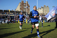 Kahn Fotuali'i and the rest of the Bath Rugby team run onto the field. Aviva Premiership match, between Bath Rugby and Sale Sharks on February 24, 2018 at the Recreation Ground in Bath, England. Photo by: Patrick Khachfe / Onside Images