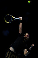 17th November 2019; 02 Arena. London, England; Nitto ATP Tennis Finals; Michael Venus (NZL) serves to Pierre-Hugues Herbert (FRA) in mens doubles final - Editorial Use
