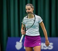 Wateringen, The Netherlands, December 1,  2019, De Rhijenhof , NOJK 12 and16 years, Final girls 16 years: Florentine Dekkers (NED) bites her racket<br /> Photo: www.tennisimages.com/Henk Koster