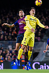 Gerard Moreno of Villarreal (R) fights for the ball with Sergio Busquets of FC Barcelona (L) during the La Liga 2018-19 match between FC Barcelona and Villarreal at Camp Nou on 02 December 2018 in Barcelona, Spain. Photo by Vicens Gimenez / Power Sport Images
