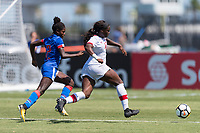 Bradenton, FL - Sunday, June 12, 2018: Dougenie Joseph, Teni Akindoju prior to a U-17 Women's Championship 3rd place match between Canada and Haiti at IMG Academy. Canada defeated Haiti 2-1.