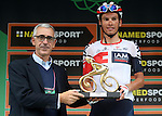 Stefan Denifl (AUT) IAM Cycling, first on the Madonna del Ghisallo, won the Premio Todisco at the end of the Il Lombardia NamedSport 2016 cycle race, running 241 km from Como to Bergamo, Italy. 1st October 2016.<br /> Picture: ANSA/Matteo Bazzi | Newsfile<br /> <br /> <br /> All photos usage must carry mandatory copyright credit (© Newsfile | Matteo Bazzi)