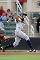 Shortstop Tyler Wade (7) of the Charleston RiverDogs bats in a game against the Kannapolis Intimidators on Saturday, June 28, 2014, at CMC-Northeast Stadium in Kannapolis, North Carolina. Kannapolis won, 4-3. (Tom Priddy/Four Seam Images)