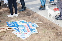 Campaign signs are seen on the ground as people line up for selfies with Democratic presidential candidate and Massachusetts senator Elizabeth Warren after a small rally outside Graham & Parks School after the candidate voted in the Massachusetts primary as part of Super Tuesday voting in Cambridge, Massachusetts, on Tue., March 3, 2020. The polling place is just a few blocks from Warren's residence. Polls show Warren and Vermont senator Bernie Sanders in a near tie in the Massachusetts Democratic party primary.