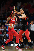 Washington, DC - July 13, 2019: Washington Mystics forward LaToya Sanders (30) is guarded by Las Vegas Aces center Liz Cambage (8) during 1st half action of game between Las Vegas Aces and Washington Mystics at the Entertainment & Sports Arena in Washington, DC. (Photo by Phil Peters/Media Images International)