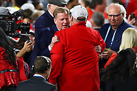 2nd February 2020, Miami Gardens, Florida, USA;   NFL Commissioner Roger Goodell hugs Kansas City Chiefs Head Coach Andy Reid on the podium after Super Bowl LIV on February 2, 2020 at Hard Rock Stadium in Miami Gardens